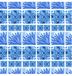 watercolor blue floral seamless pattern vector image vector image