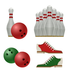 accessories for bowling play balls pins or vector image