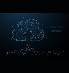 cloud technology polygonal wireframe art looks vector image