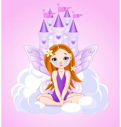 Little cute fairy and a castle vector image