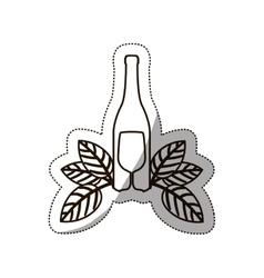 sticker medium shade of bottle wine and goblet vector image