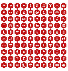 100 park icons hexagon red vector