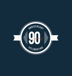 90 years anniversary celebrations retro circle vector