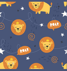 adorable little lion seamless pattern vector image