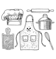 Apron or pinaphora and hood rolling pin vector