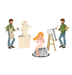 Artist and sculptor with model vector