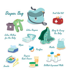 Baby items to bring in young parent diaper bag vector