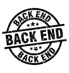 Back end round grunge black stamp vector