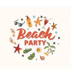 Beach party text with beach elements sunscreen vector