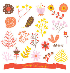 Beautiful flowers set cute doodle vector