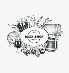 Beer glass mug and hop design template hand drawn vector