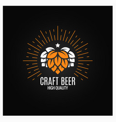 Beer hops logo on black background vector