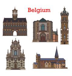 Belgium architecture churches mons louvain vector