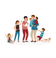 big family with many children stressed and tired vector image