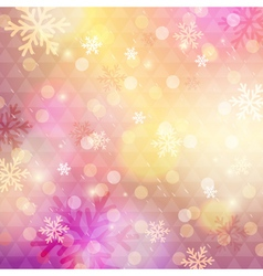 Bright pink background with bokeh and snowflakes vector