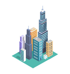 building set and skyscrapers vector image
