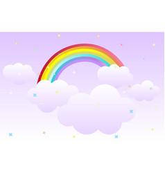 Cartoon background with rainbow in sky vector