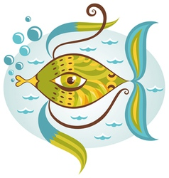 Cartoon sea fish vector image