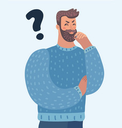 cartoon thinking man with question mark vector image
