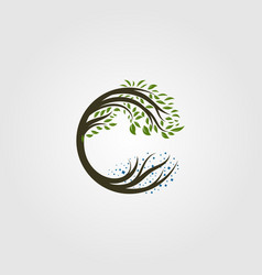 Circle tree logo letter c design vector
