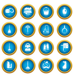 Cleaning tools icons set simple style vector
