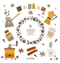 collection of coffee design elements vector image