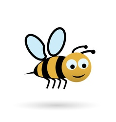 colorful happy bee character simple icon eps10 vector image