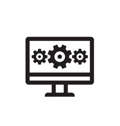 Computer with gears - business black icon vector