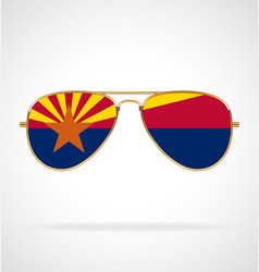 cool gold aviator sunglasses with arizona az flag vector image