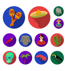 Country mexico flat icons in set collection for vector