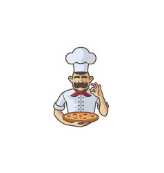 creative character chef holding pizza logo vector image