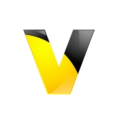 Creative yellow and black symbol letter V for your vector image