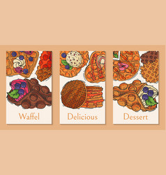 crispy wafer cards chocolate cream flavor belgian vector image