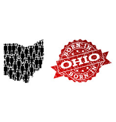 Crowd composition of mosaic map of ohio state and vector