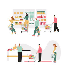 customers at supermarket choose products paying vector image