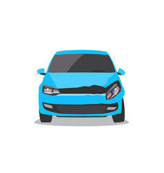 damaged blue car front view vector image