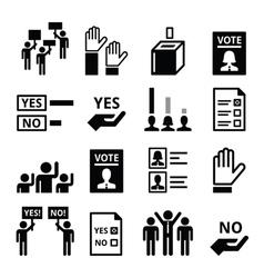 Democracy voting politics icon set vector