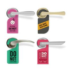 door handle do not disturb hotel room signs vector image
