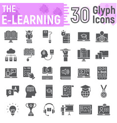 E learning glyph icon set online education signs vector