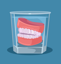 false teeth glass vector image