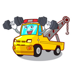 Fitness cartoon tow truck isolated on rope vector