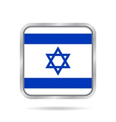 Flag of Israel Shiny metallic gray square button vector image