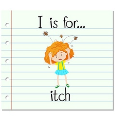 Flashcard alphabet I is for itch vector