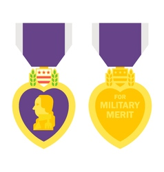 Flat design purple heart medal vector image