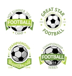 Football labels green vintage vector