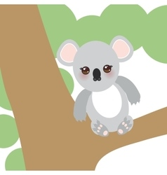 Funny cute koala sitting on a branch of a large vector image