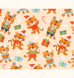 Funny cute tigers background vector
