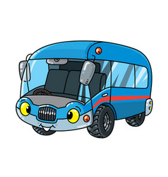 Funny small bus or van with eyes vector