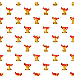 Gold bell with red bow pattern vector