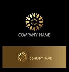 Gold flower circle company logo vector